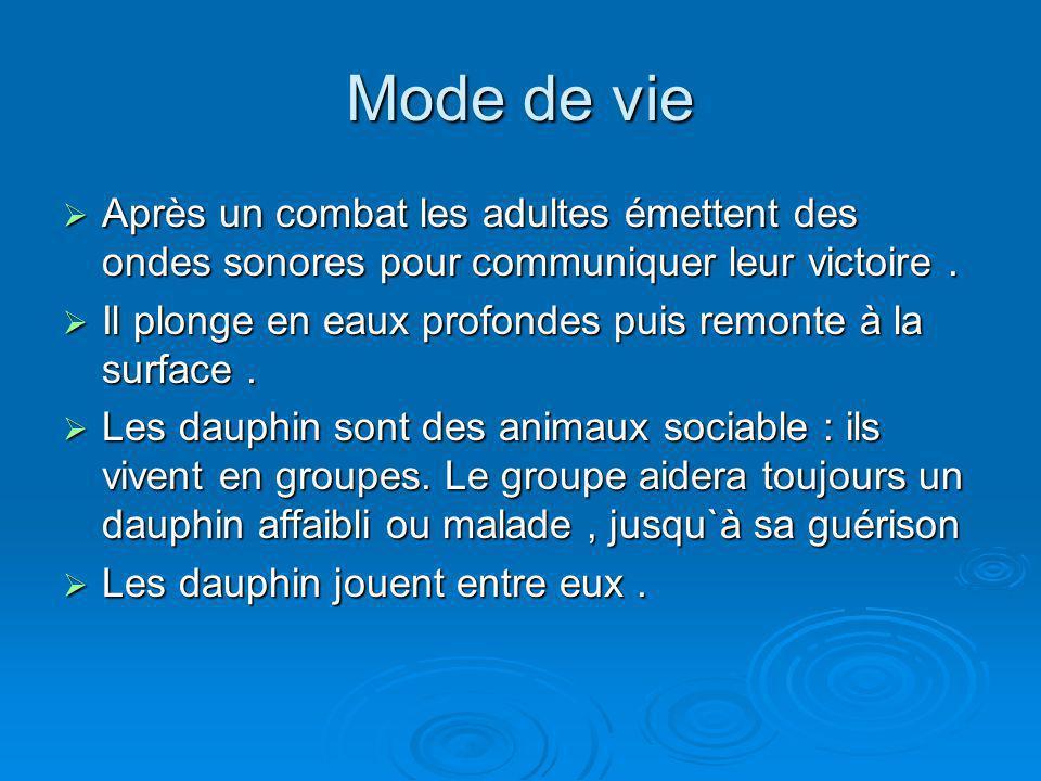 Mode de vie Après un combat les adultes émettent des ondes sonores pour communiquer leur victoire .