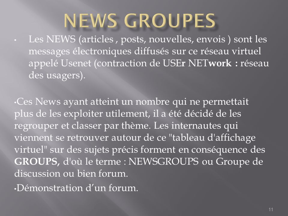 News groupes
