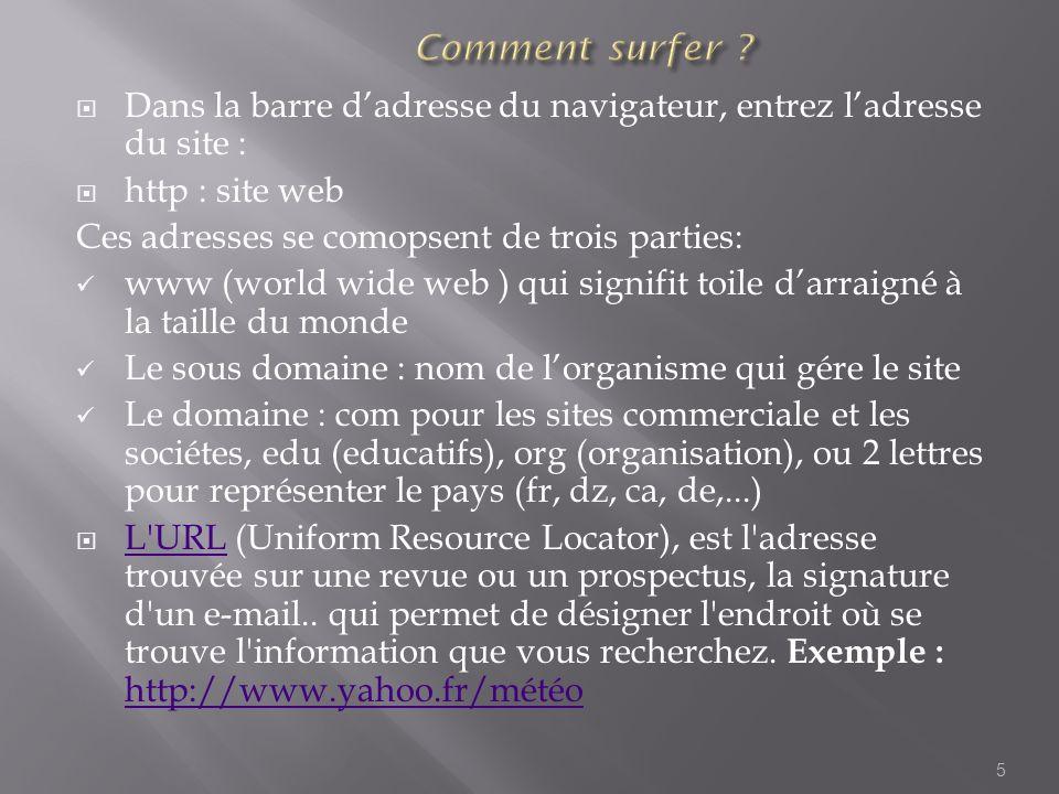 Comment surfer Dans la barre d'adresse du navigateur, entrez l'adresse du site : http : site web.