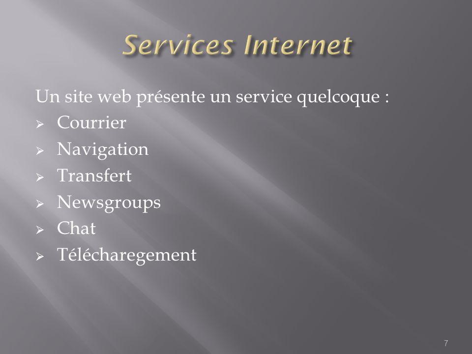 Services Internet Un site web présente un service quelcoque : Courrier