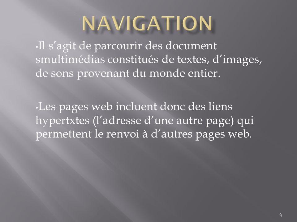 Navigation Il s'agit de parcourir des document smultimédias constitués de textes, d'images, de sons provenant du monde entier.