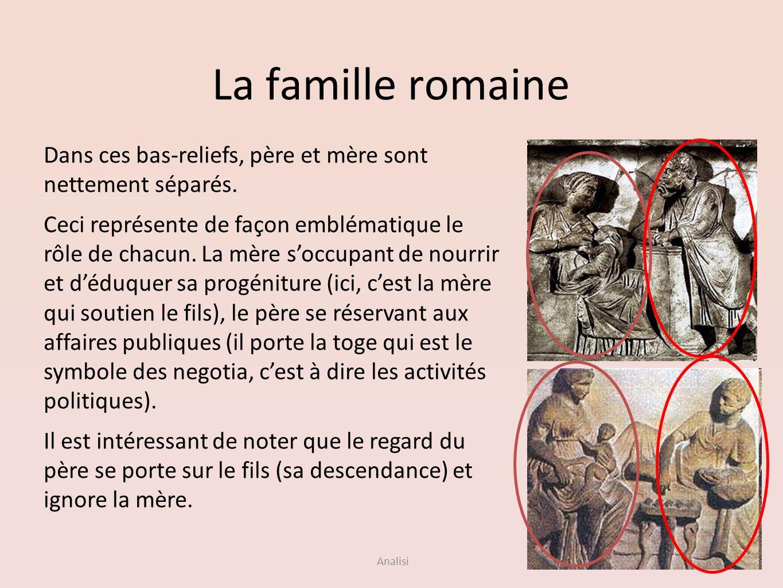 La famille romaineDans ces bas-reliefs, père et mère sont nettement séparés.