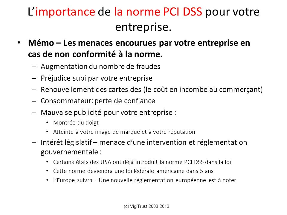 L'importance de la norme PCI DSS pour votre entreprise.