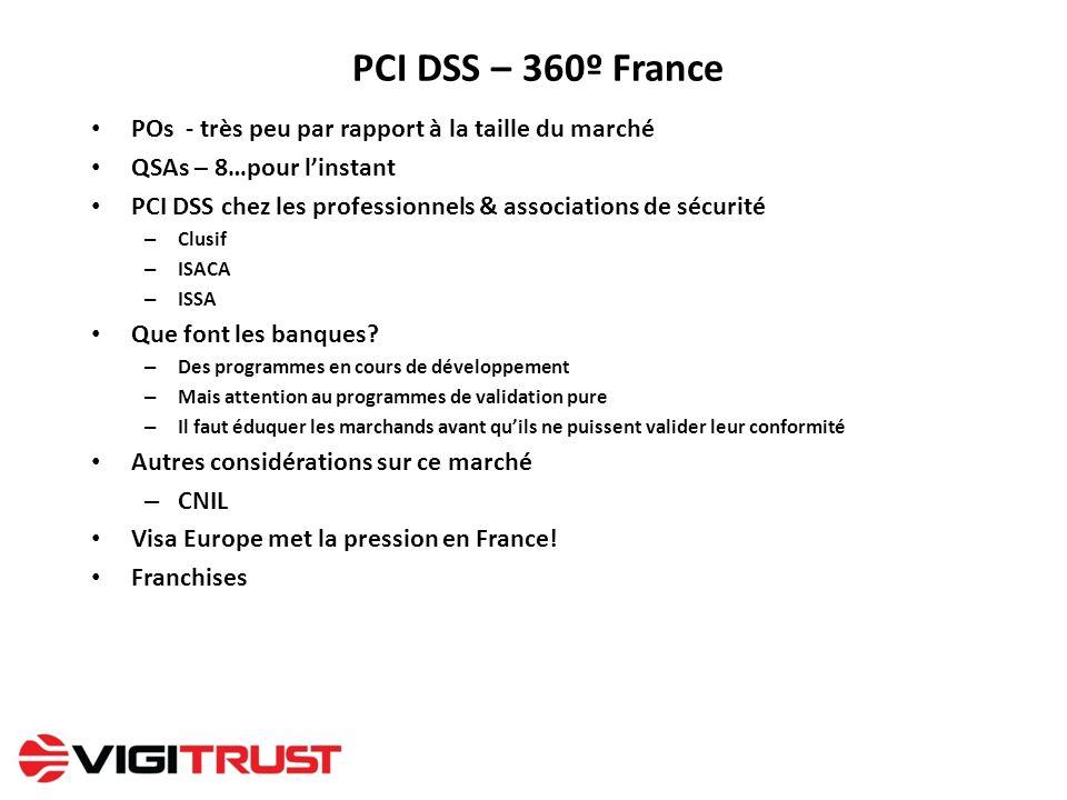 PCI DSS – 360º France POs - très peu par rapport à la taille du marché