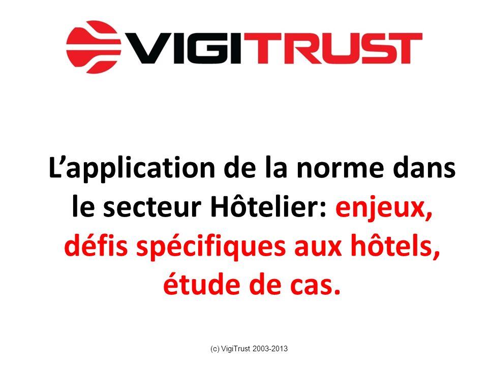 L'application de la norme dans le secteur Hôtelier: enjeux, défis spécifiques aux hôtels, étude de cas.