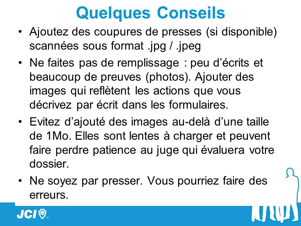 Quelques Conseils Ajoutez des coupures de presses (si disponible) scannées sous format .jpg / .jpeg.