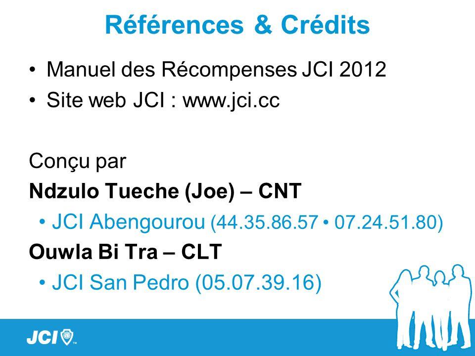 Références & Crédits Manuel des Récompenses JCI 2012