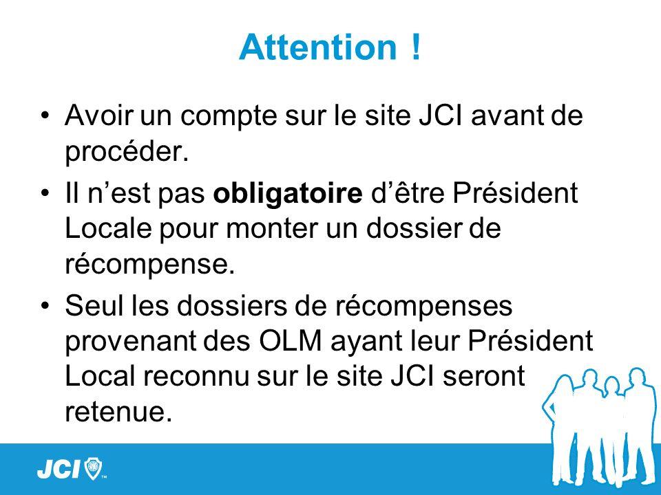 Attention ! Avoir un compte sur le site JCI avant de procéder.
