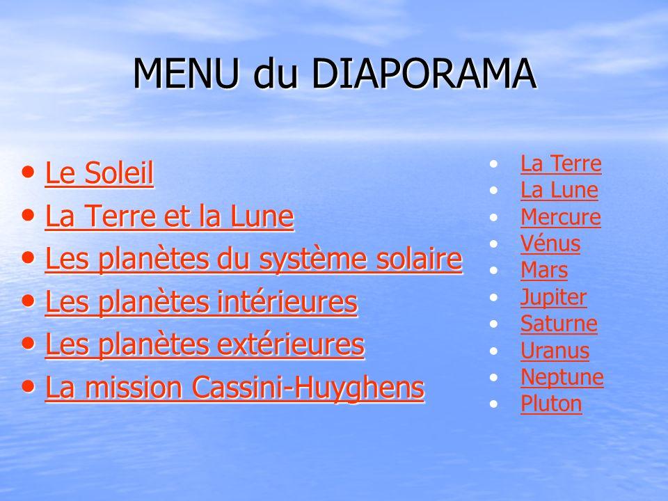 MENU du DIAPORAMA Le Soleil La Terre et la Lune