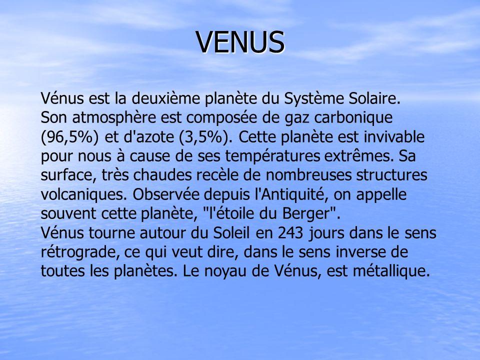 VENUS Vénus est la deuxième planète du Système Solaire.
