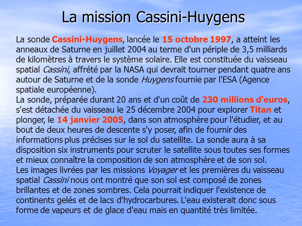 La mission Cassini-Huygens