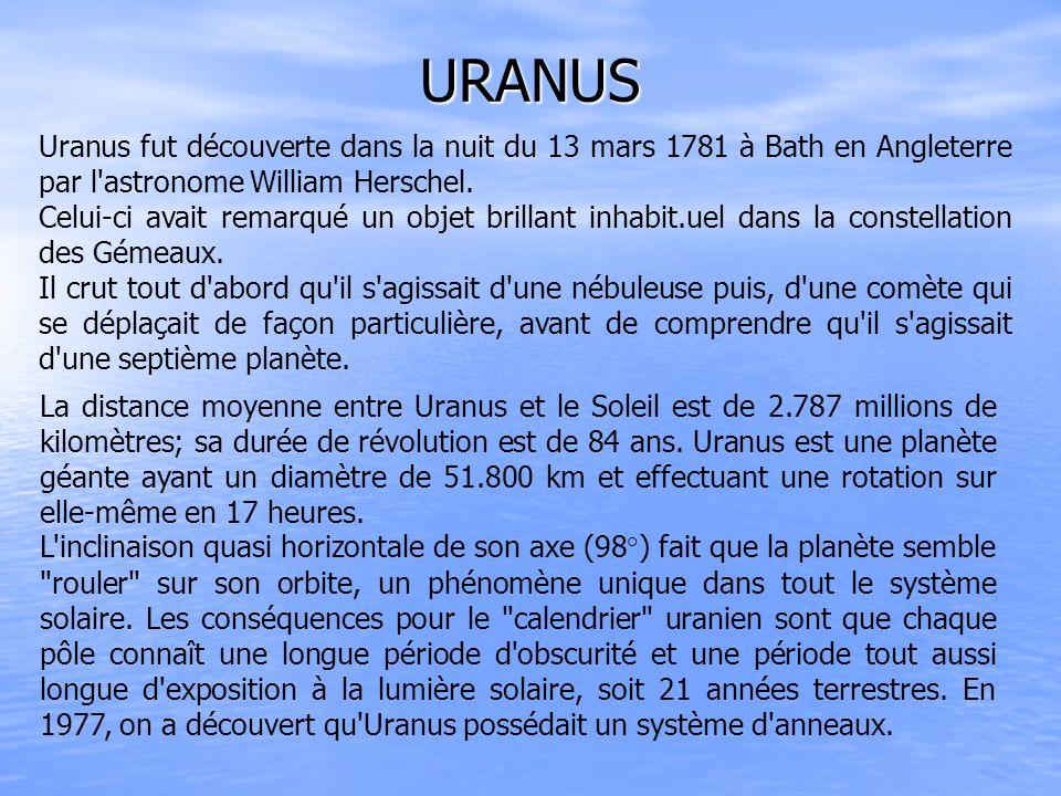 URANUS Uranus fut découverte dans la nuit du 13 mars 1781 à Bath en Angleterre par l astronome William Herschel.