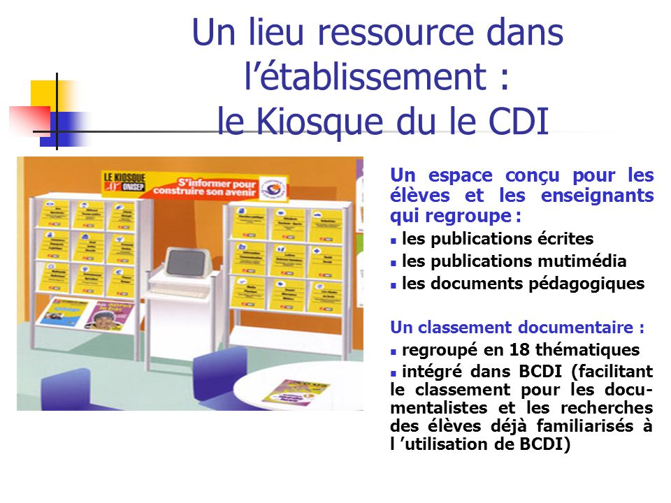 Un lieu ressource dans l'établissement : le Kiosque du le CDI
