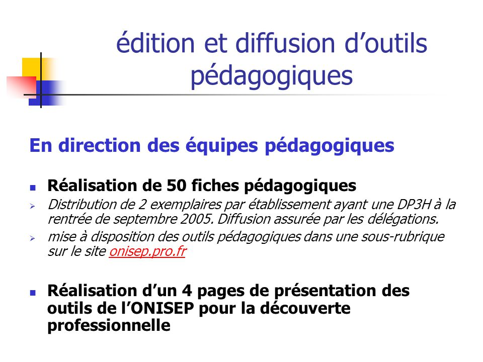 édition et diffusion d'outils pédagogiques