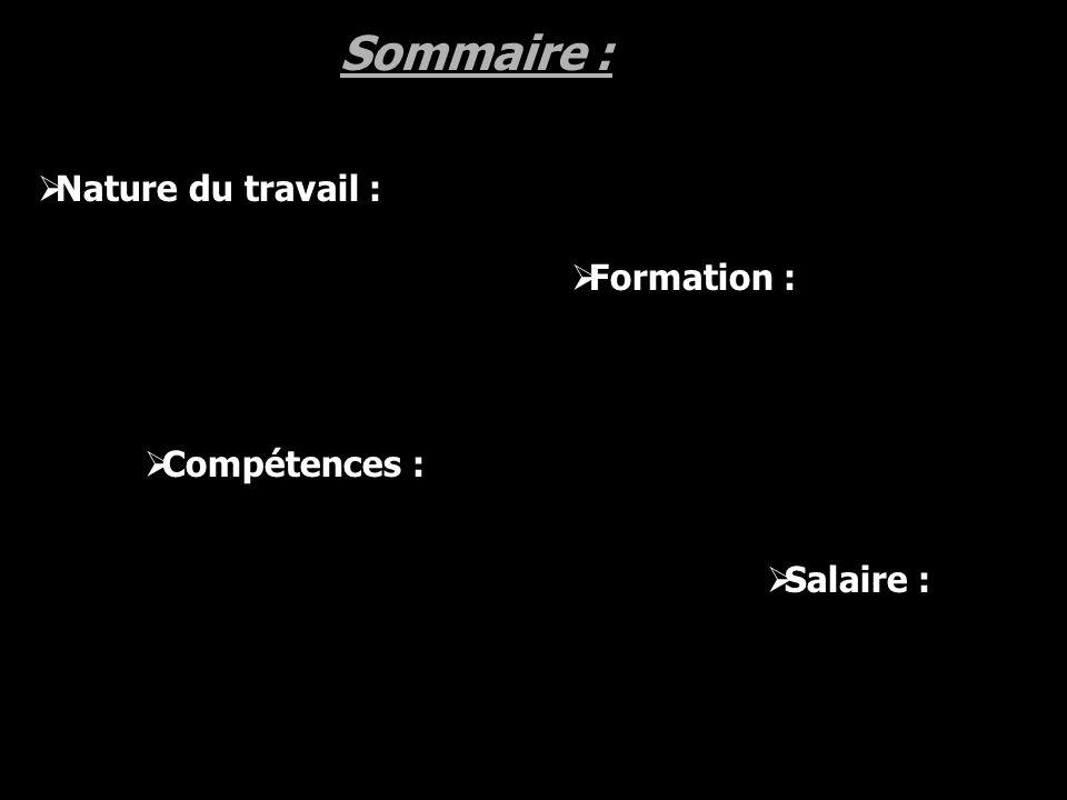 Sommaire : Nature du travail : Formation : Compétences : Salaire :