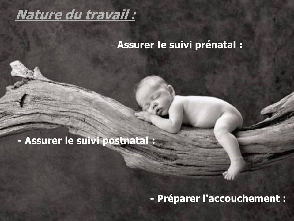 Nature du travail : Assurer le suivi prénatal :