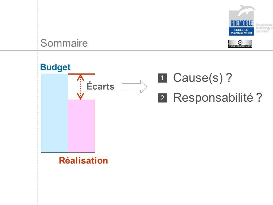 Sommaire Budget Cause(s) 1 Écarts Responsabilité 2 Réalisation