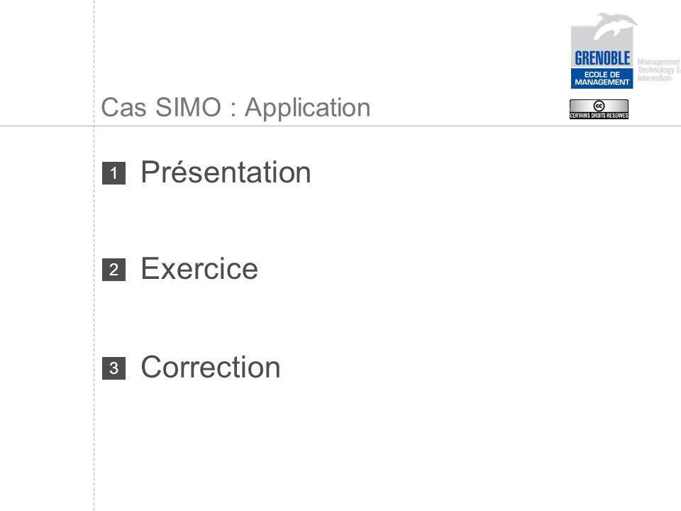 Cas SIMO : Application Présentation 1 Exercice 2 Correction 3