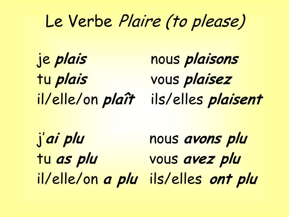 Le Verbe Plaire (to please)