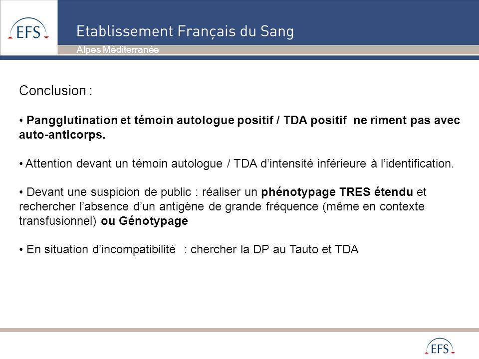 Conclusion :Pangglutination et témoin autologue positif / TDA positif ne riment pas avec auto-anticorps.
