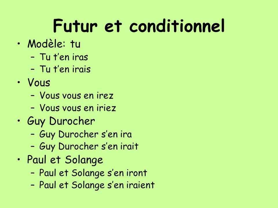 Futur et conditionnel Modèle: tu Vous Guy Durocher Paul et Solange