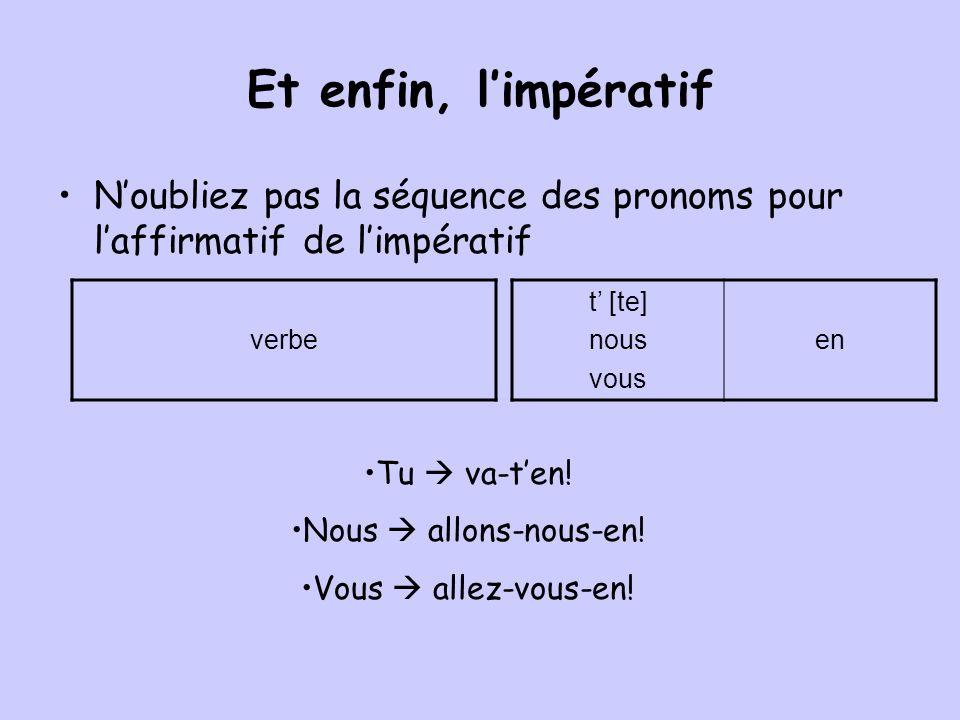 Et enfin, l'impératif N'oubliez pas la séquence des pronoms pour l'affirmatif de l'impératif. verbe.
