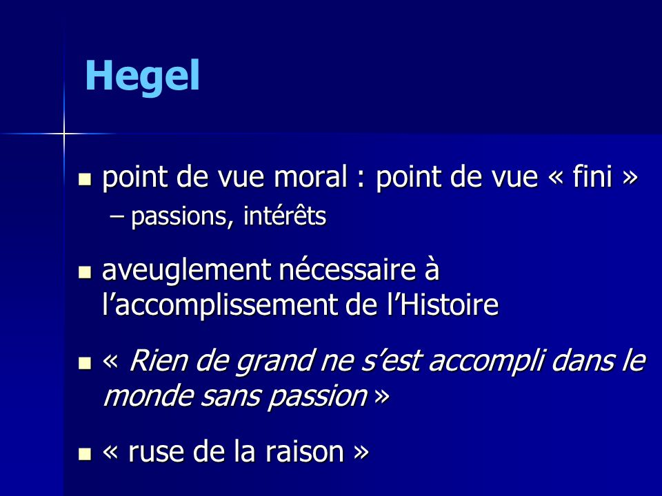 Hegel point de vue moral : point de vue « fini »