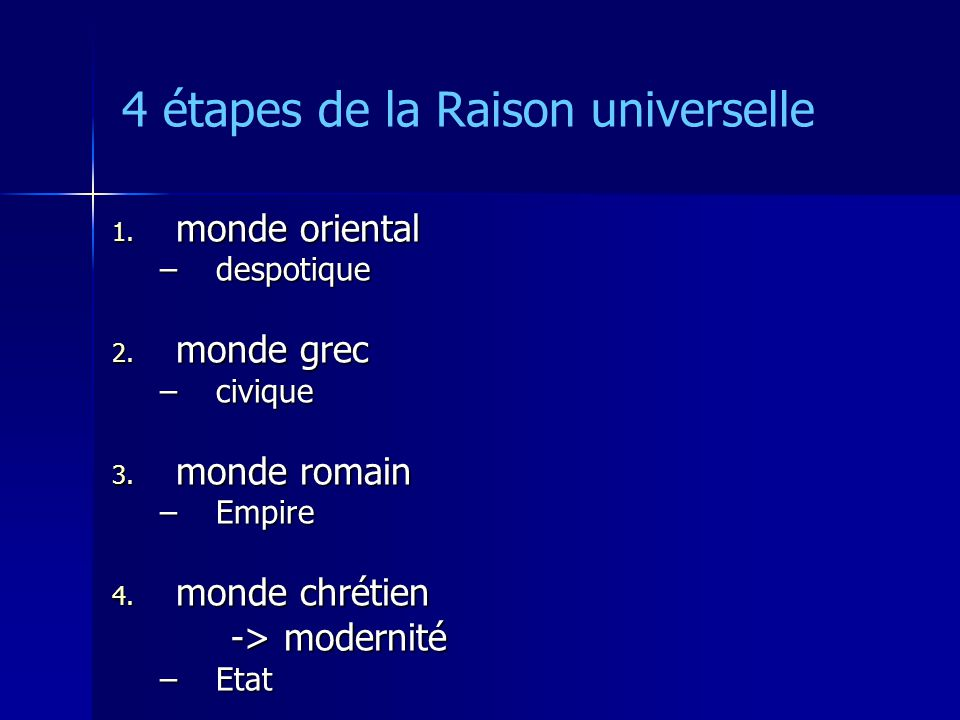 4 étapes de la Raison universelle