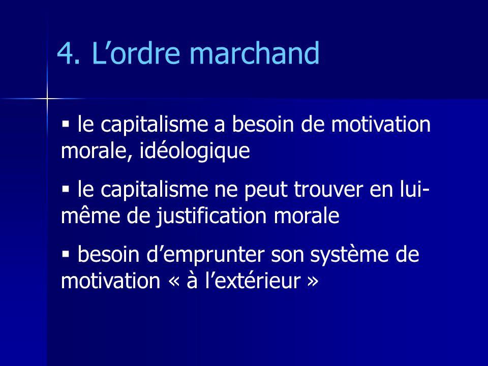 4. L'ordre marchand le capitalisme a besoin de motivation morale, idéologique. le capitalisme ne peut trouver en lui-même de justification morale.