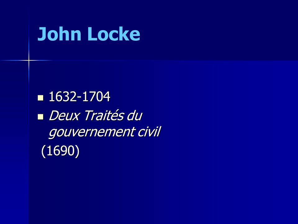 John Locke 1632-1704 Deux Traités du gouvernement civil (1690)