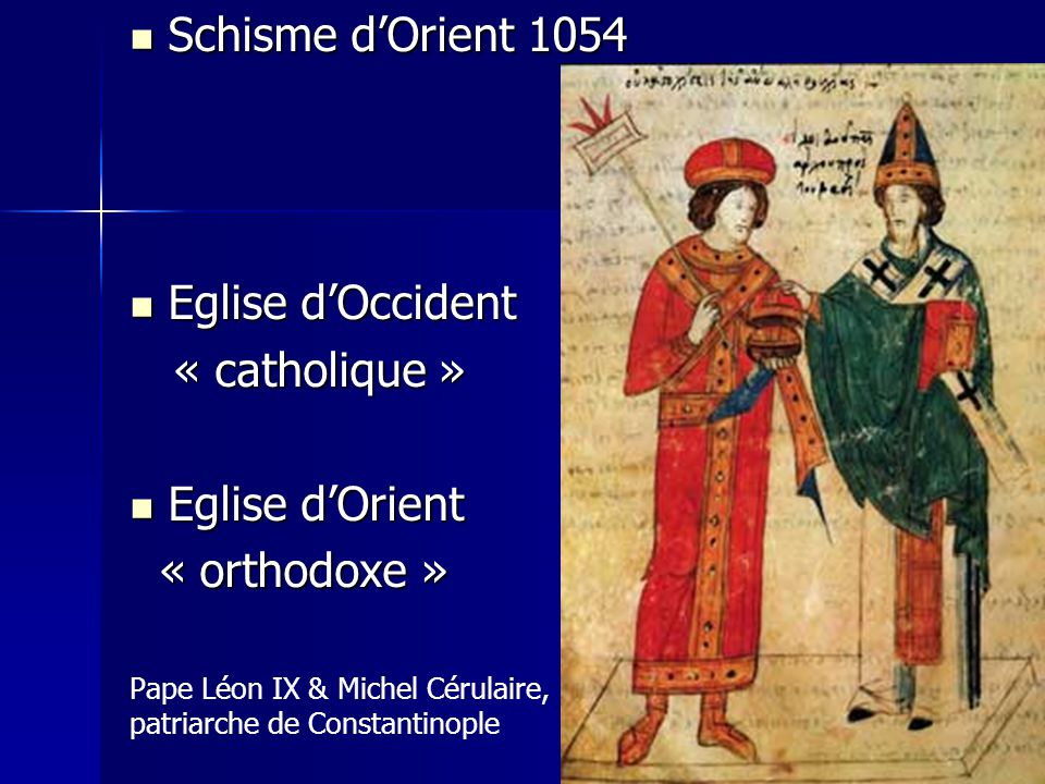 Schisme d'Orient 1054 Eglise d'Occident « catholique » Eglise d'Orient