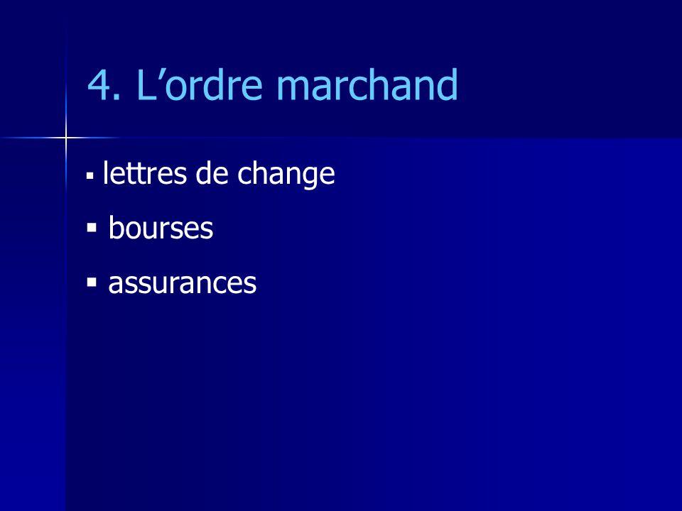 4. L'ordre marchand lettres de change bourses assurances