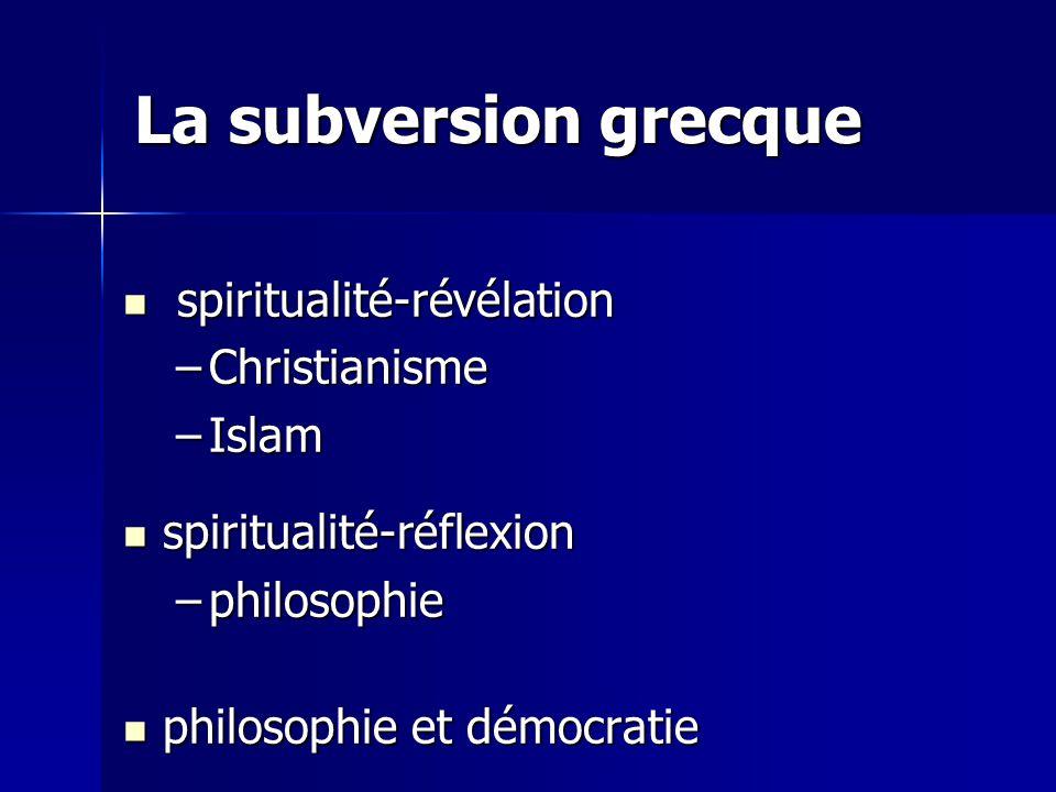 La subversion grecque spiritualité-révélation Christianisme Islam