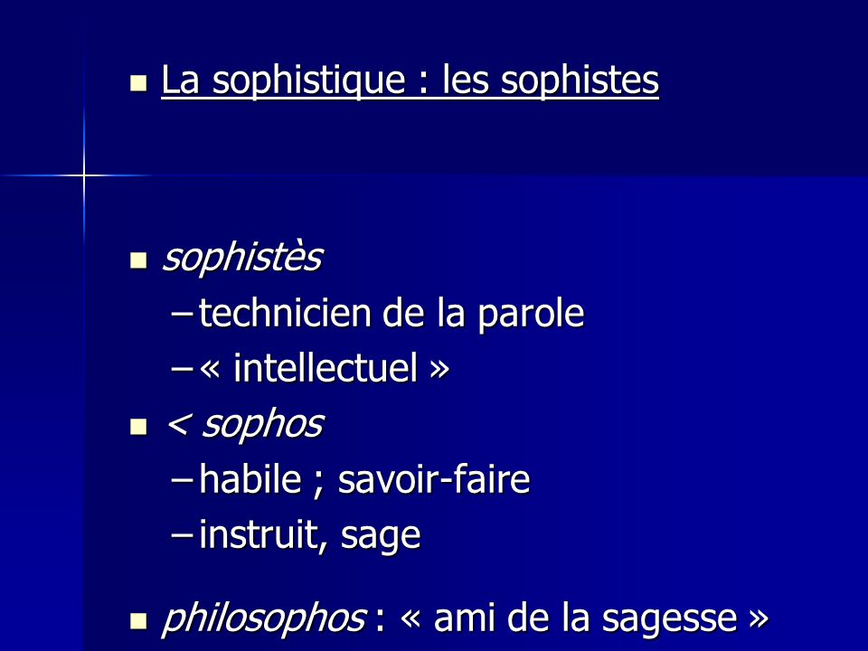 La sophistique : les sophistes