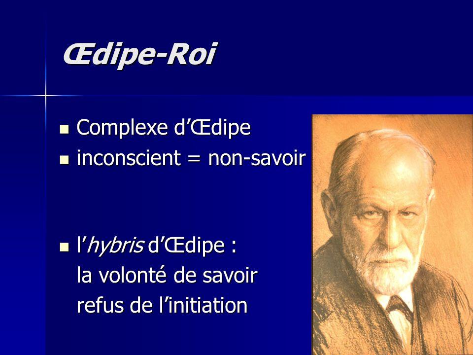 Œdipe-Roi Complexe d'Œdipe inconscient = non-savoir l'hybris d'Œdipe :