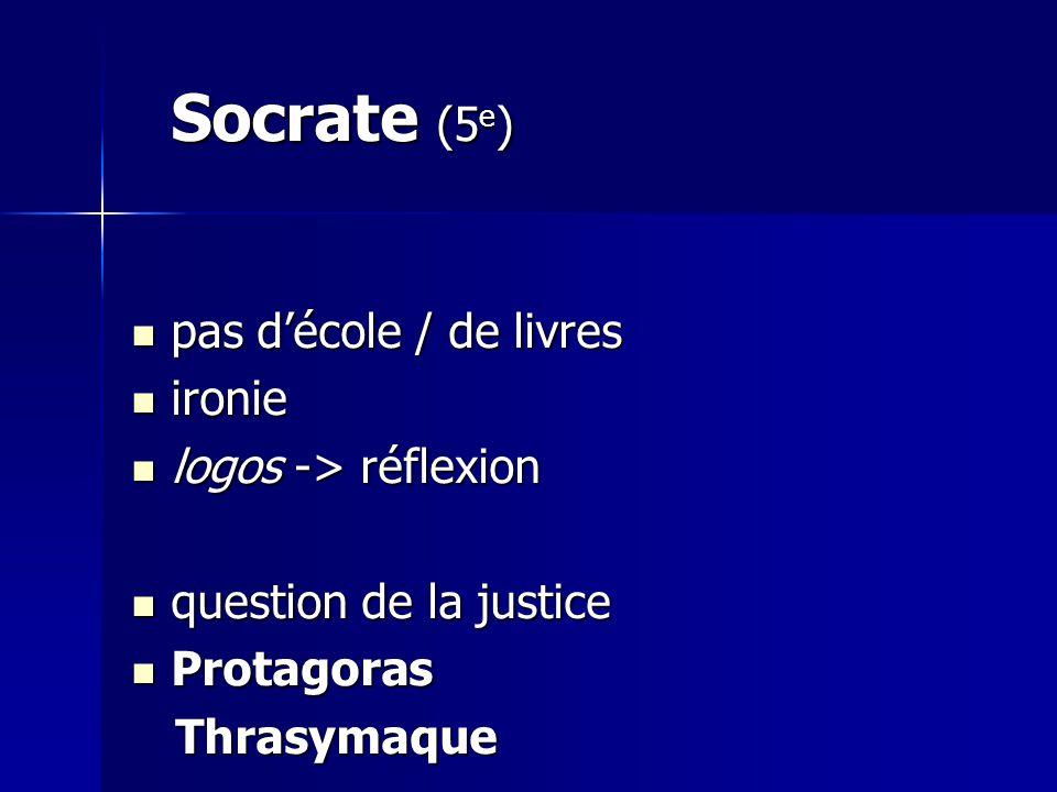Socrate (5e) pas d'école / de livres ironie logos -> réflexion