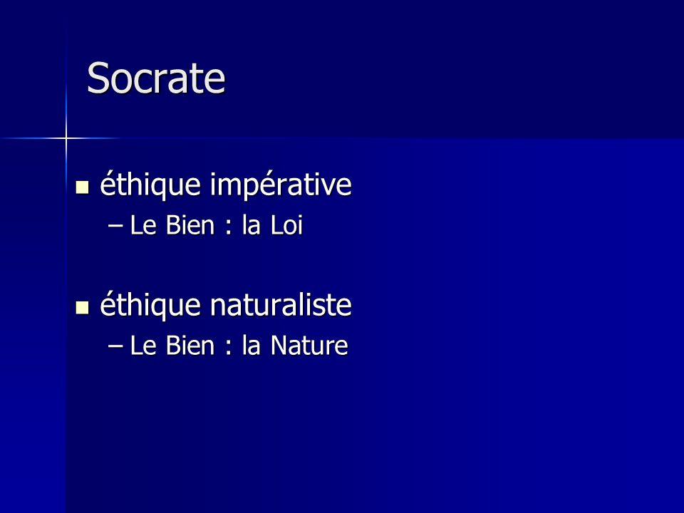 Socrate éthique impérative éthique naturaliste Le Bien : la Loi