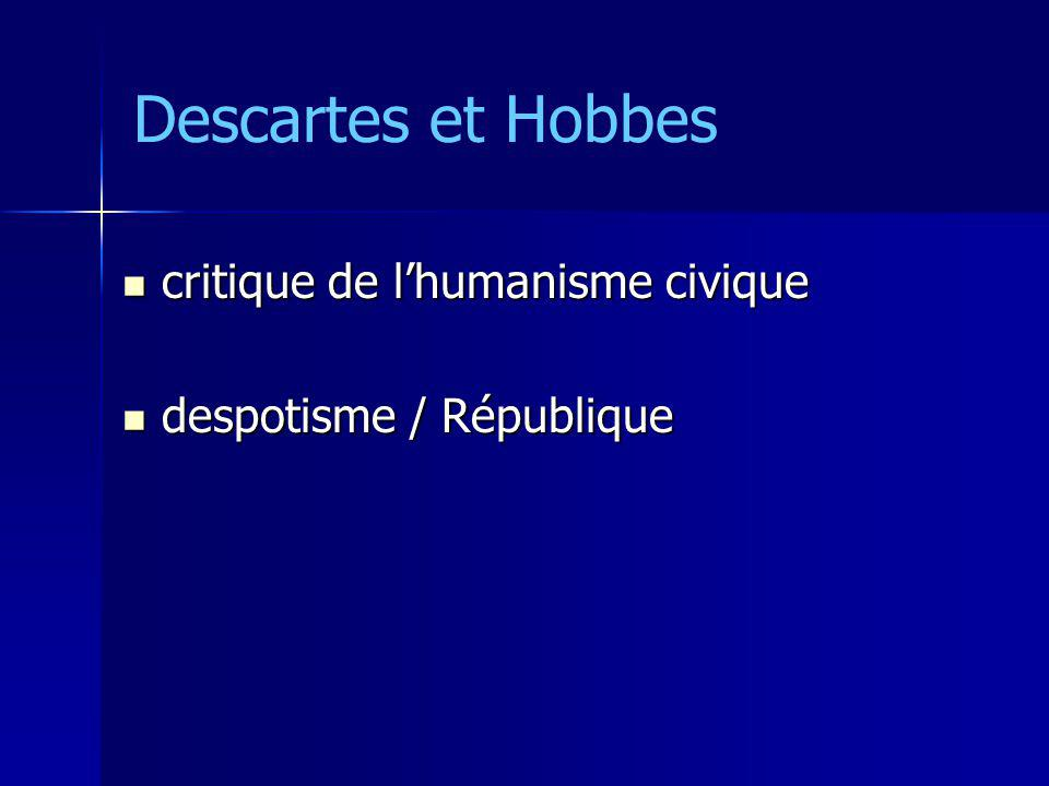 Descartes et Hobbes critique de l'humanisme civique