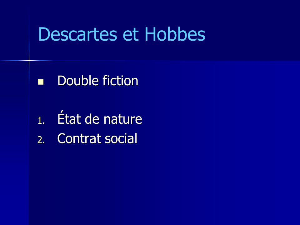 Descartes et Hobbes Double fiction État de nature Contrat social