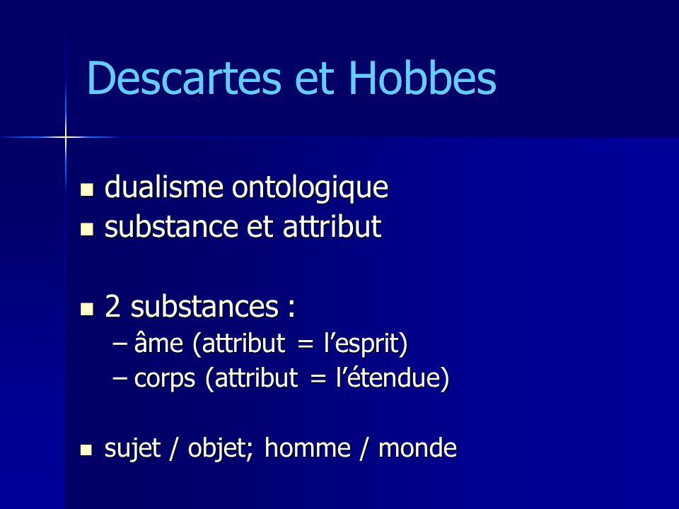 Descartes et Hobbes dualisme ontologique substance et attribut
