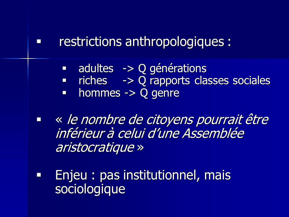restrictions anthropologiques :