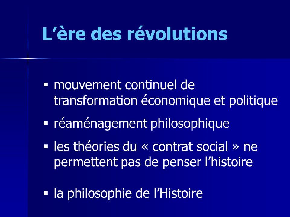 L'ère des révolutions mouvement continuel de transformation économique et politique. réaménagement philosophique.