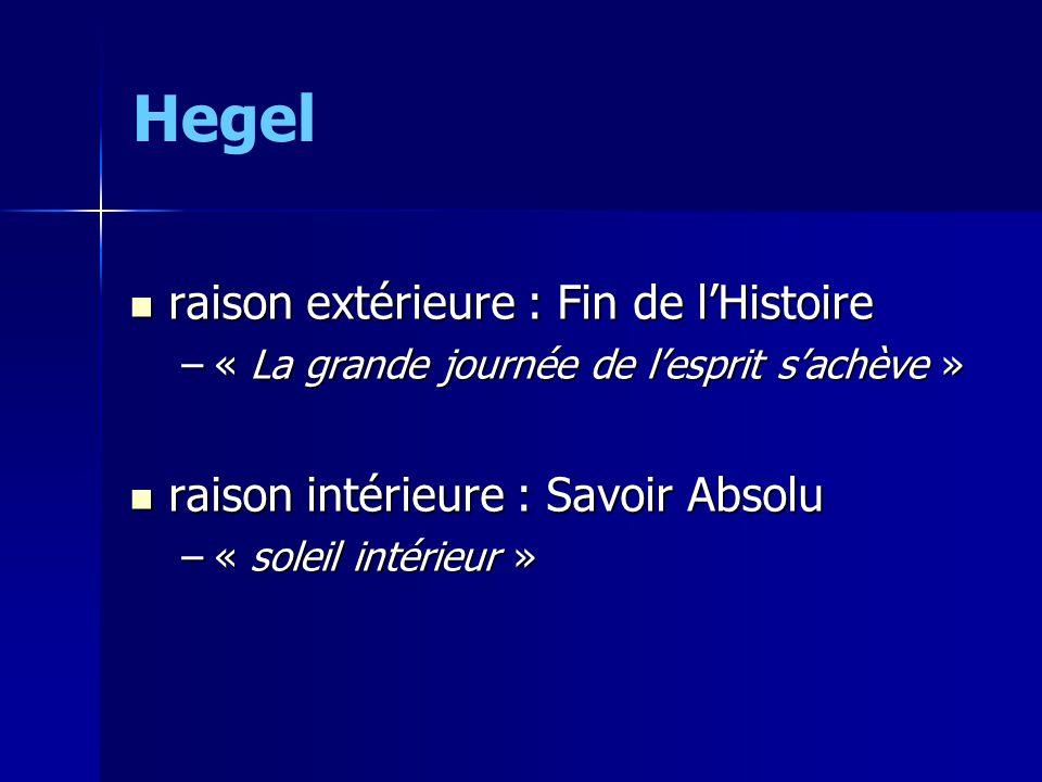 Hegel raison extérieure : Fin de l'Histoire