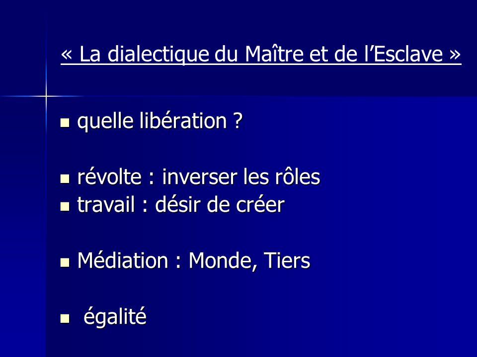 « La dialectique du Maître et de l'Esclave »
