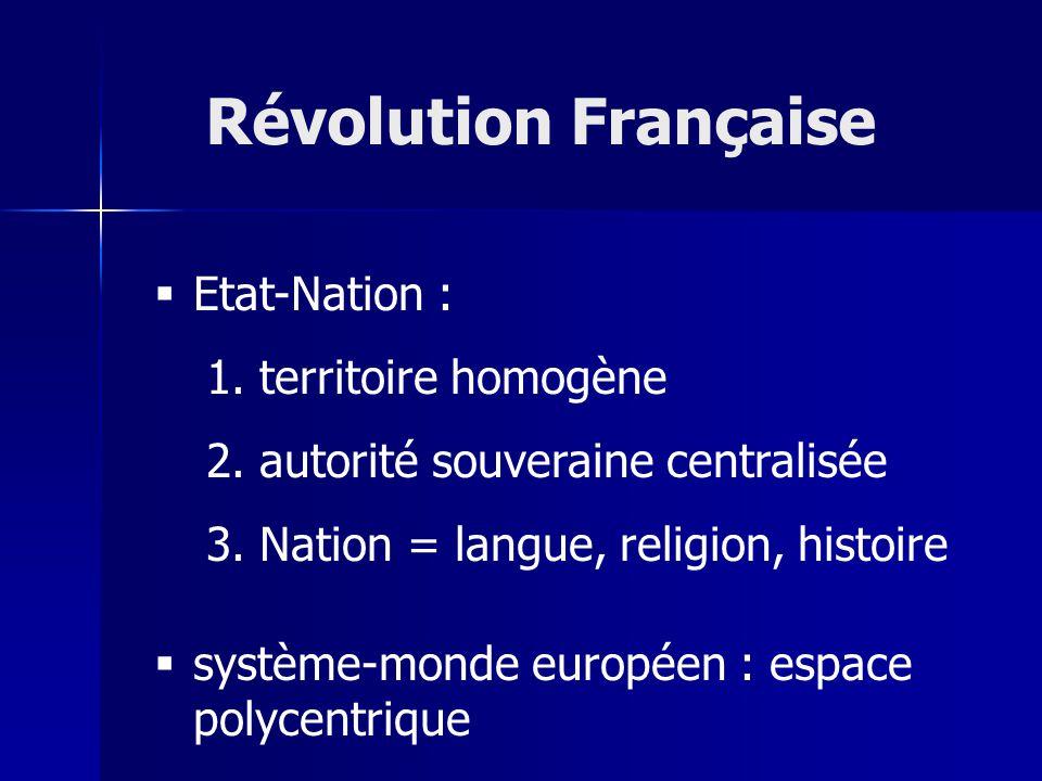 Révolution Française Etat-Nation : territoire homogène