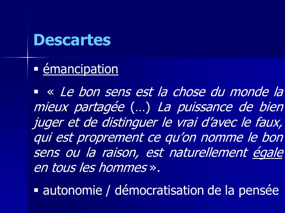 Descartes émancipation