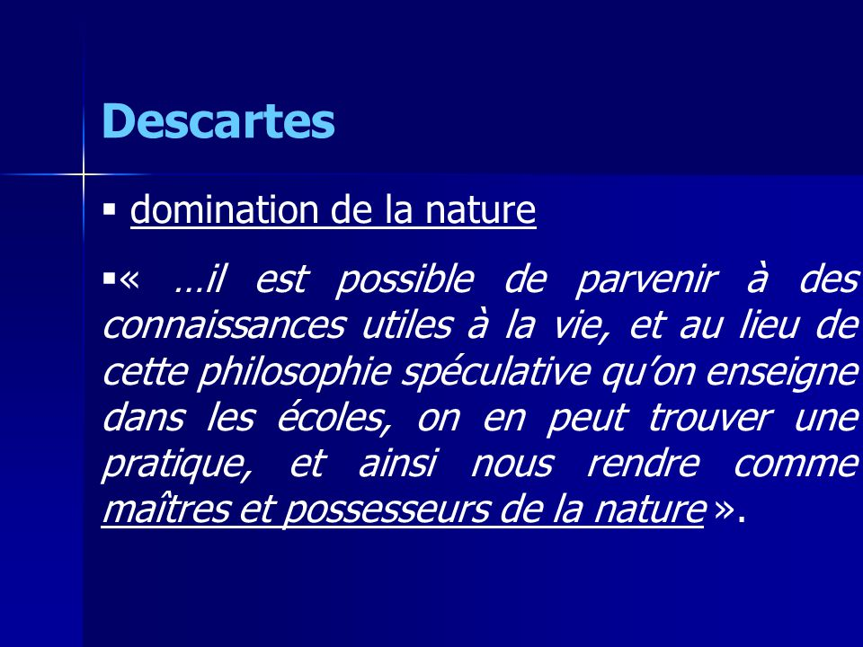 Descartes domination de la nature