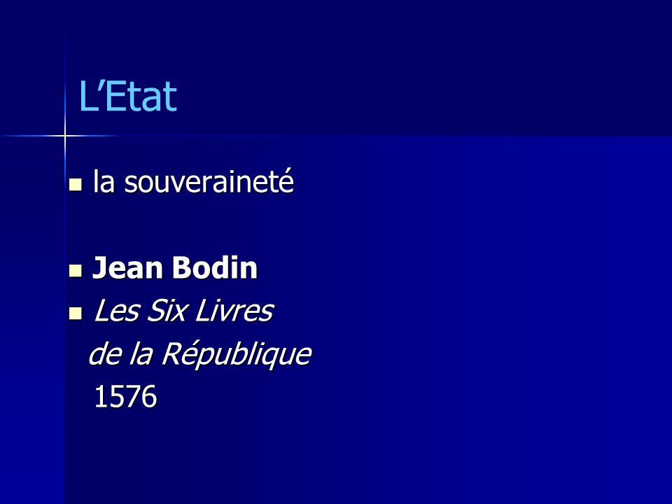 L'Etat la souveraineté Jean Bodin Les Six Livres de la République 1576
