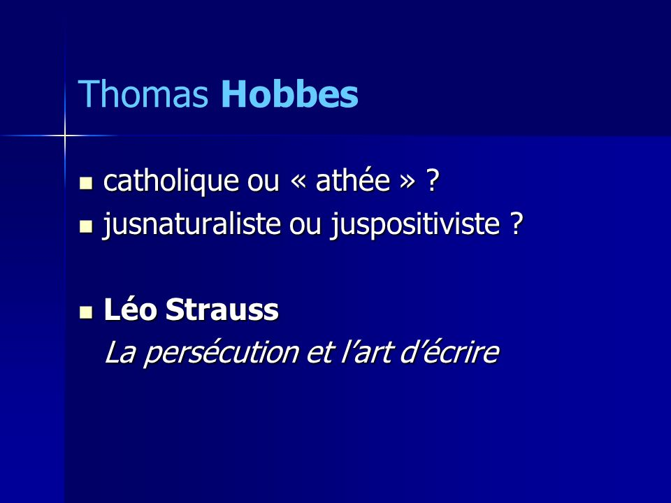 Thomas Hobbes catholique ou « athée »