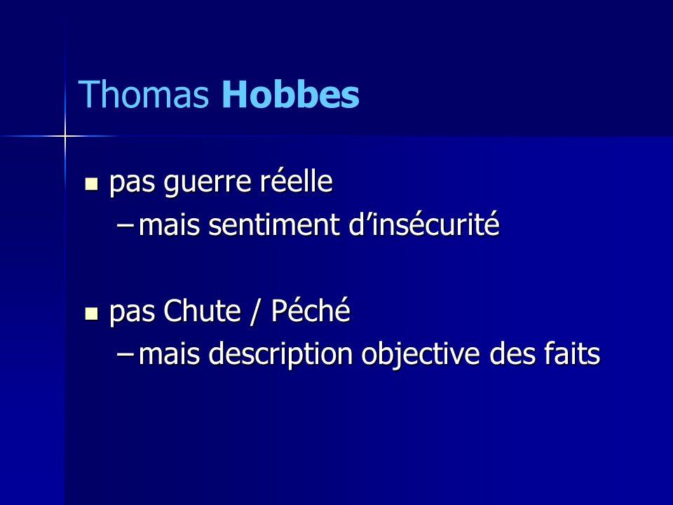 Thomas Hobbes pas guerre réelle mais sentiment d'insécurité